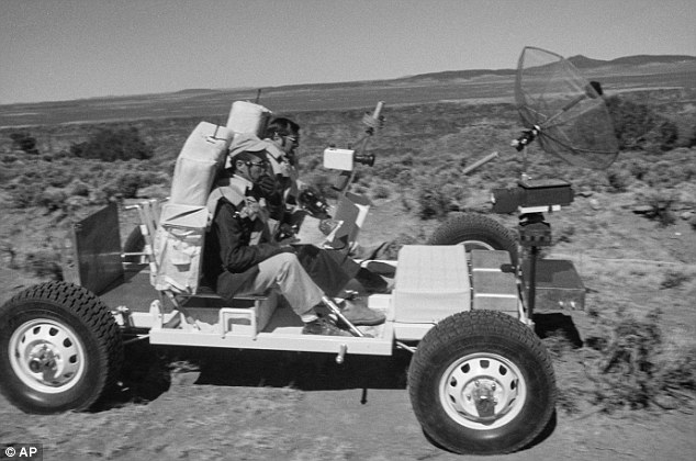 1971 image: Apollo 17 astronaut Harrison 'Jack' Schmitt  training in a lunar roving vehicle on the Big Island of Hawaii. This is the latest image in the set recently unearthed by NASA.