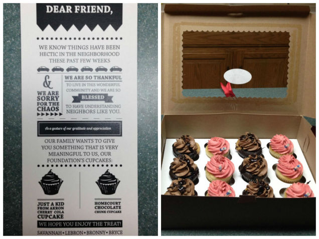 James LeBron Sent Cupcakes to all His Neighbours