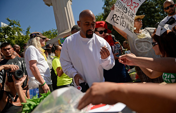 Marijuana joint handout demonstration in Denver