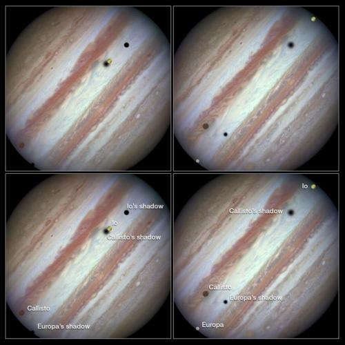 Hubble Captures Rare Triple Transit of Moons across Jupiter's Disk