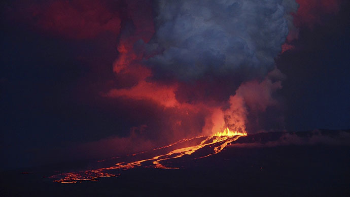 """alt=""""lava flowing down the southern side of the wolf volcano"""""""