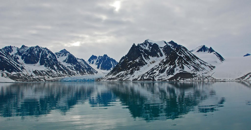 snowy fjords rising from the water
