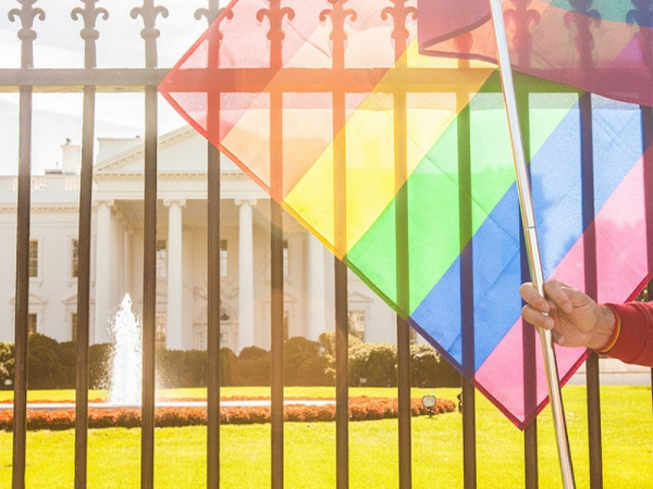 """celebrate pride rainbow flag over the White House"""