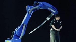 """alt=""""human samurai competing against robot samurai"""""""