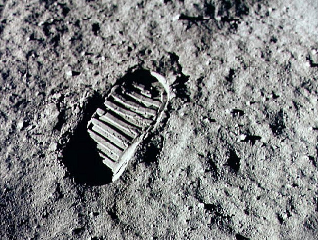 "alt=""Neil Armstrong steps into history in lunar dust"""