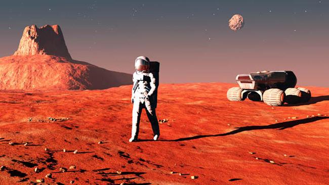 "alt=""Mars Model of Astronaut reaching Martian Surface"""