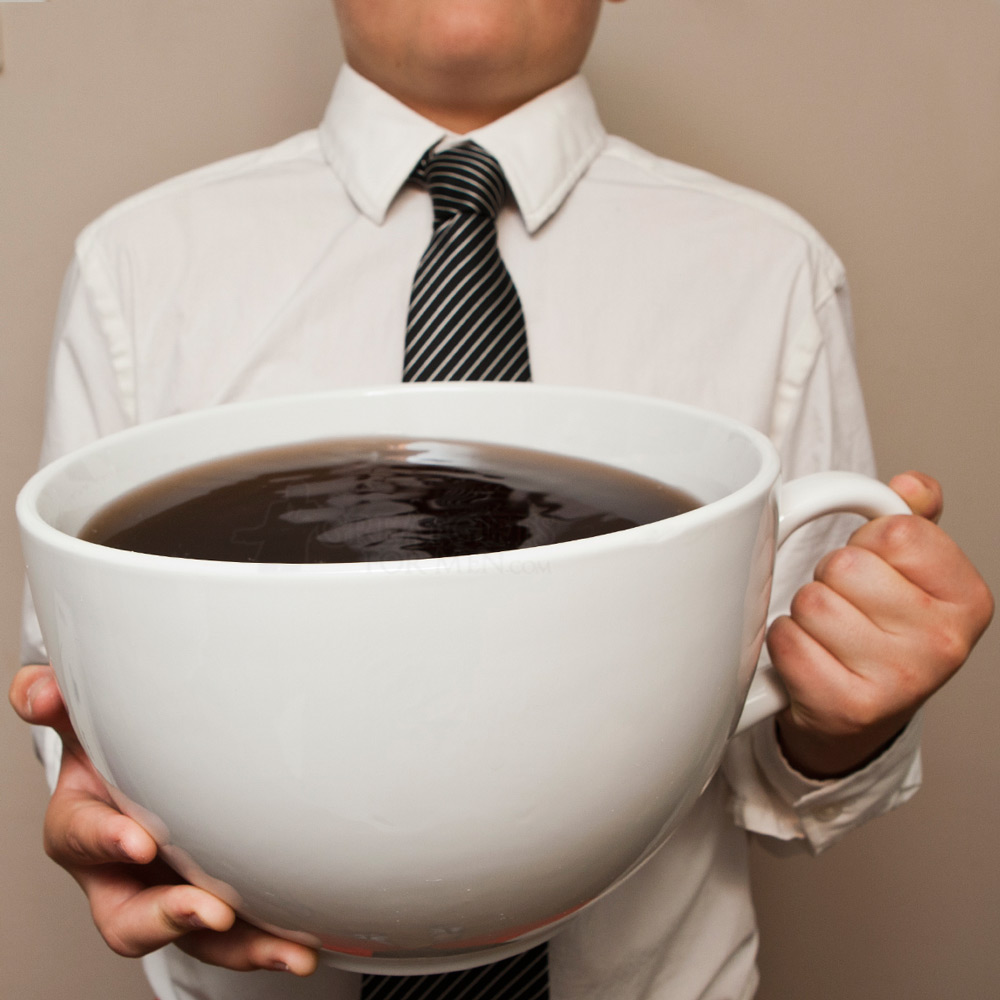 """""""man with massive cup of coffee"""""""