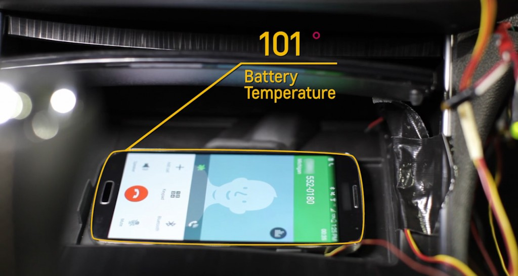 """alt=""""Engineers added a cold air vent to certain Chevrolets for the 2016 model year to help keep smart phones wirelessly charging in the car from overheating.  The industry-first feature will be available in 2016 Chevrolet Impala, Malibu, Volt and Cruze models equipped with wireless charging and Chevrolet MyLink. The Active Phone Cooling feature works when the car's heating, ventilation and cooling system is on"""""""
