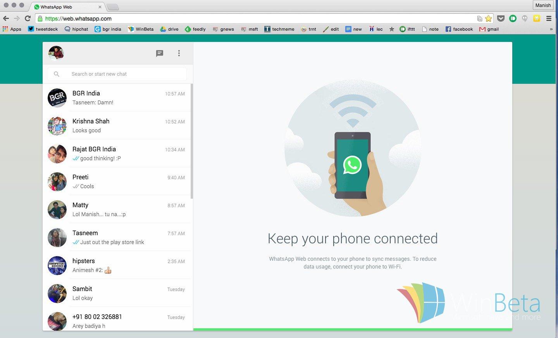"""""""snapshot of WhatsApp for Web"""""""