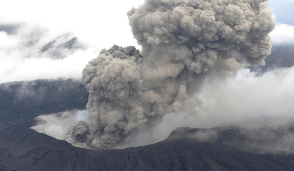 """alt=""""Japan's Mount Aso Erupts on September 14, 2015"""""""
