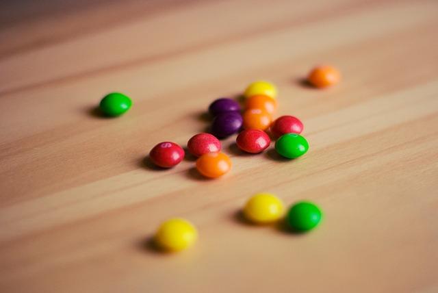 """""""skittles candies on the floor"""""""