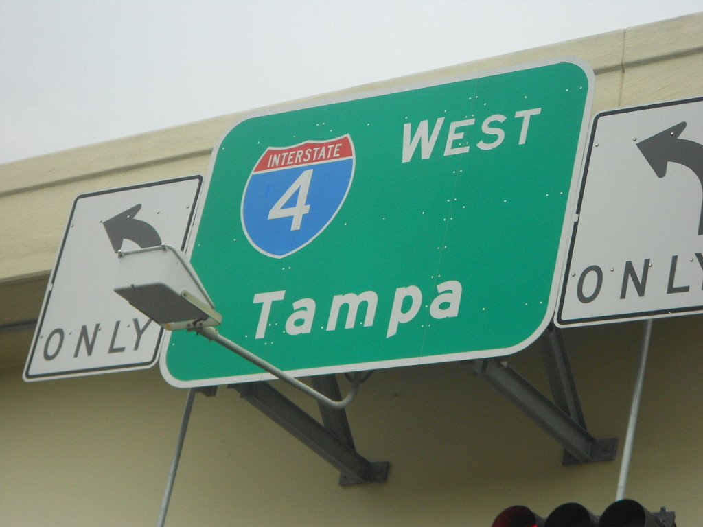 """Florida's Interstate 4 Tampa road sign"""