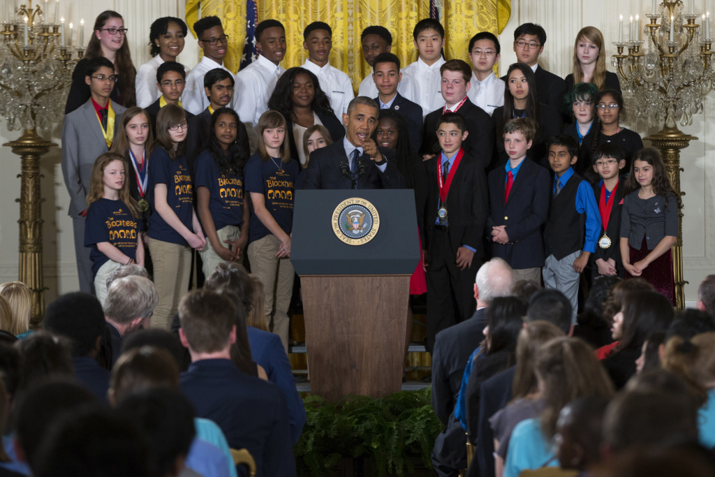 President Barack Obama speaks during the 2016 White House Science Fair, Wednesday, April 13, 2016, in the East Room of the White House in Washington.