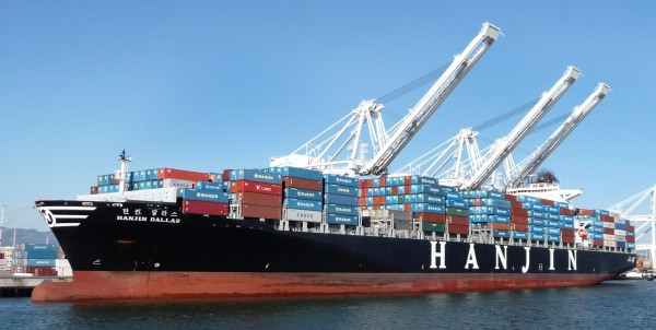 A Hanjin ship was stranded on the coast of California
