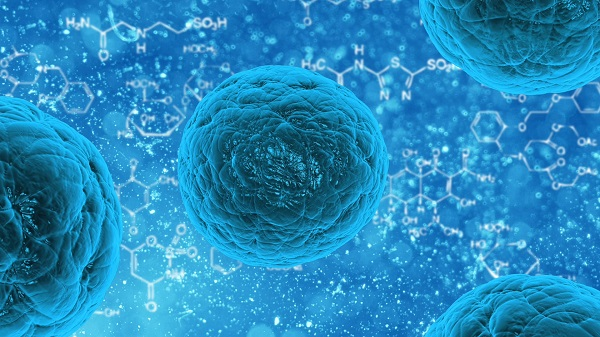 human cell in a blue color