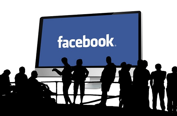facebook logo on screen