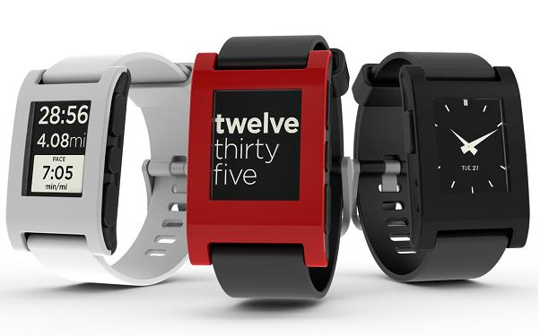 three Pebble smartwatches