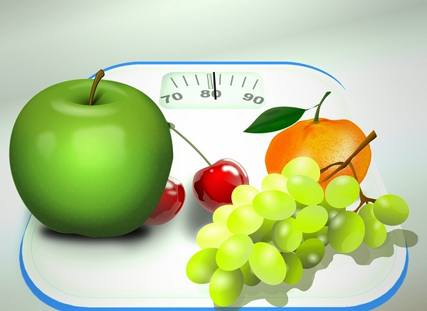 fruits on a scale