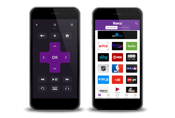 roku app on two smartphones