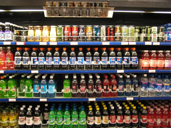 sugary drinks rack