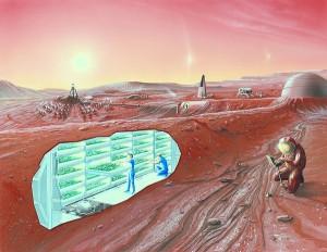 Mars colony concept art