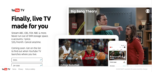 YouTube TV homepage