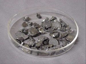 Samples of boron on a glass tray