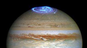 Jupiter and its vivid auroras at its North Pole