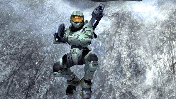 Master Chief jumping in a cave