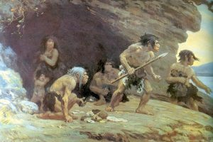 neanderthals in front of a cave defending themselves