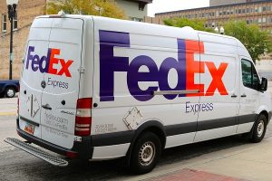 White FedEx van