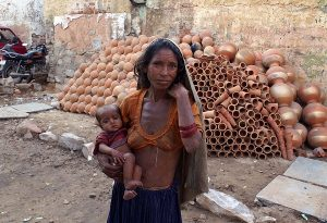 Poor Indian Woman and Newborn