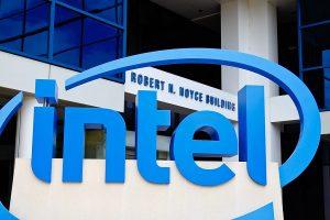 Intel logo outside Robert Noyce Building