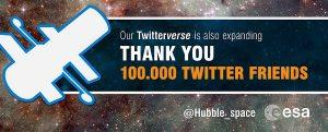 ESA's Hubble Space Celebrating 100,000 Twitter Followers