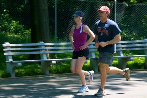Couple jogging in a park