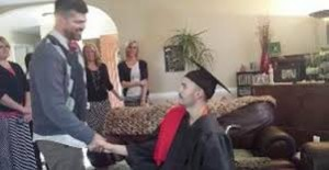 School held early graduation ceremony in the living room for teen with cancer