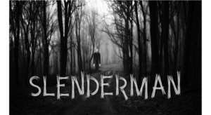 Black and white drawing of fictional character Slender Man