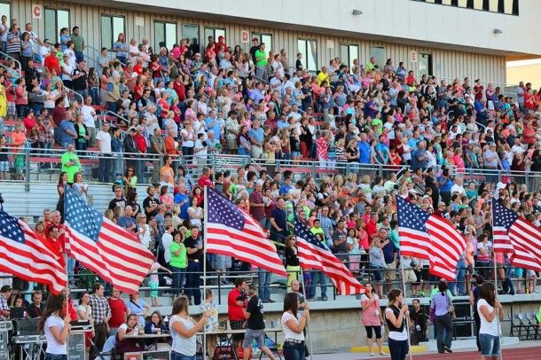 100 American flags line the track at the Utah Summer Games Opening Ceremonies, Eccles Coliseum, Cedar City, Utah