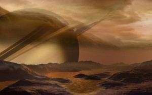 Artist's impression of a lake on Titan.
