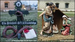 Christian And Satanist Exhibits At Michigan Capitol
