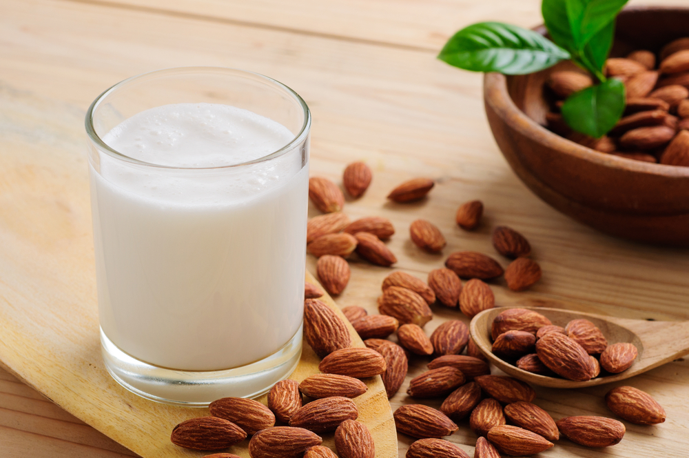 "alt=""Almonds and a Glass of Almond Milk"""