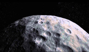Closeup of dwarf planet Ceres' surface