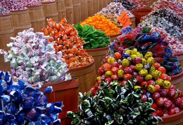 barrels of Halloween candy