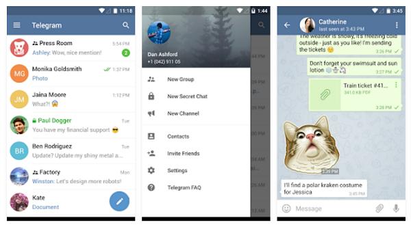 Telegram app chat windows