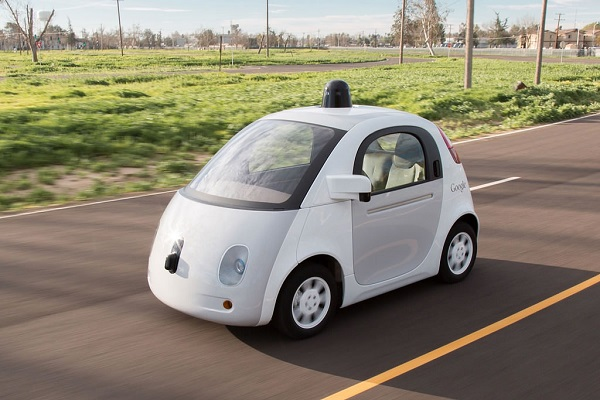 Google self-driving car on the road