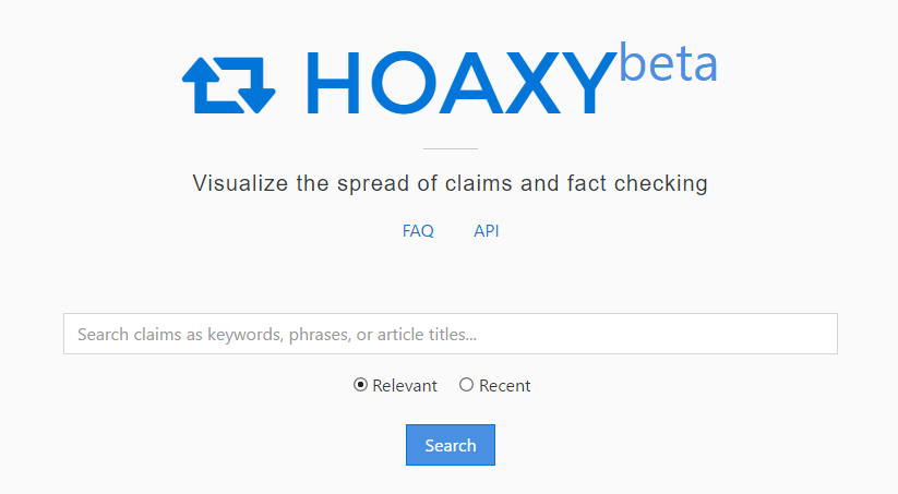 Hoaxy main page