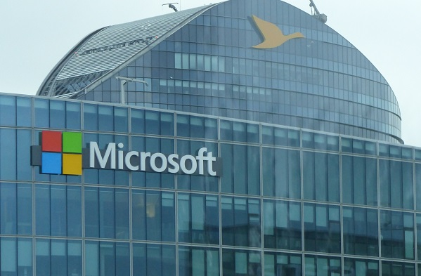 Microsoft logo on glass building