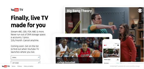 YouTube TV homepage
