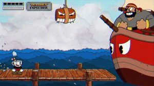 Cuphead screenshot featuring the main character battling a boss