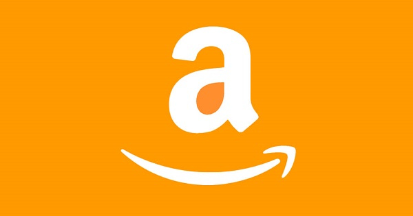 Amazon logo on an orange background